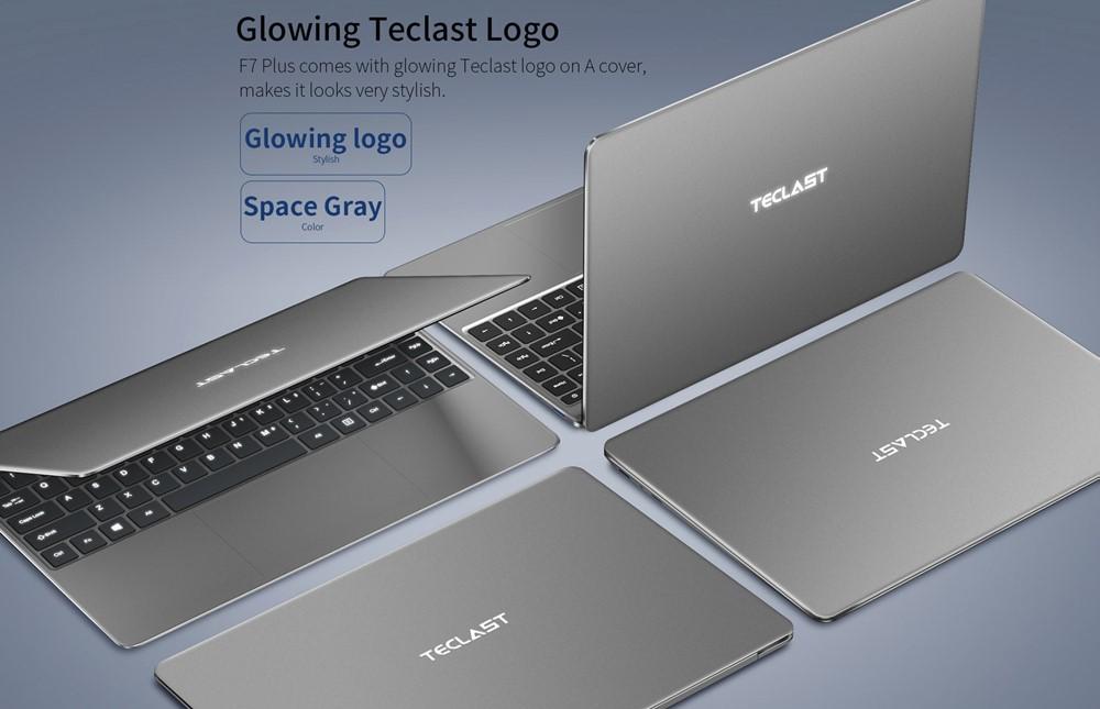 Teclast F7 Plusはフルメタルボディーを搭載。背面ロゴも淡くかっこよく光ります。