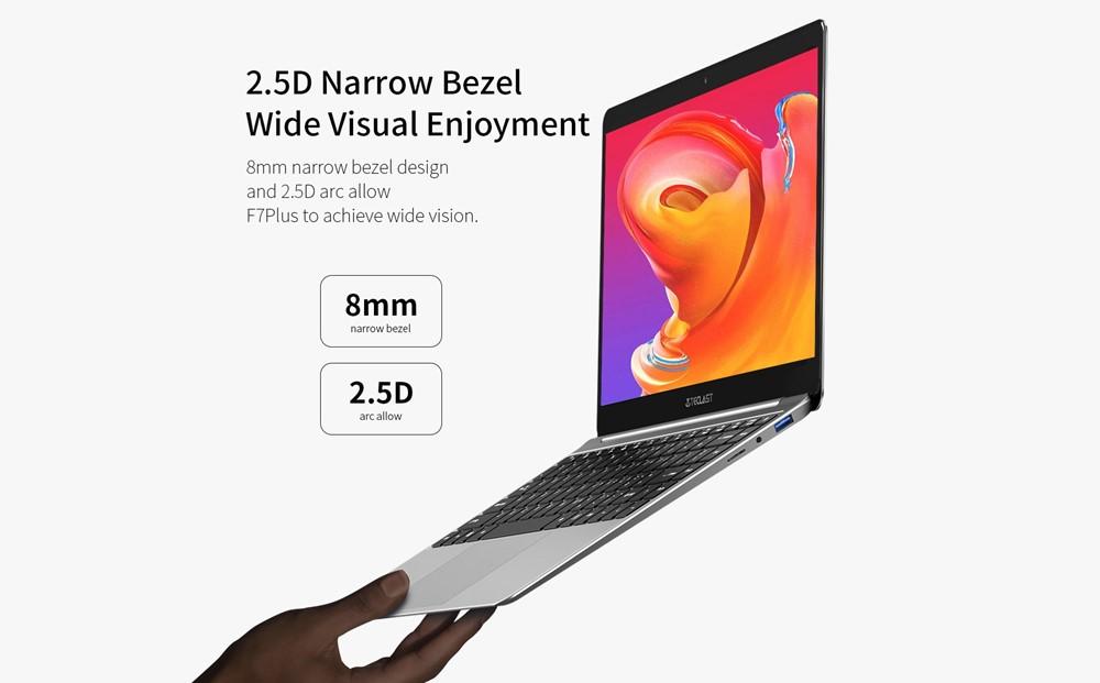 Teclast F7 Plusは薄型ベゼルを採用する事で筐体の大きさの割に大きいディスプレイを搭載出来ています。