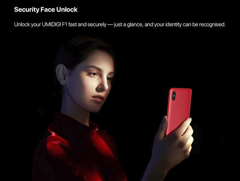 UMIDIGI F1は顔認証も利用可能