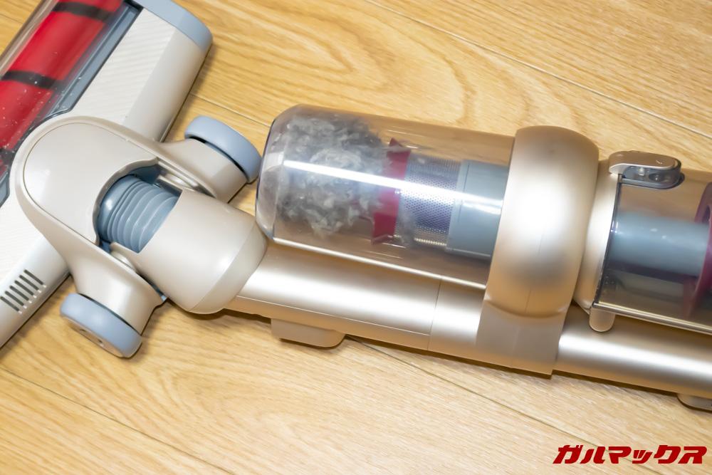 Xiaomi JV71 Vacuum Cleanerはダブルカップ仕様で取っ手を取り付けた状態でも簡単にゴミ捨て出来る工夫が施されています。