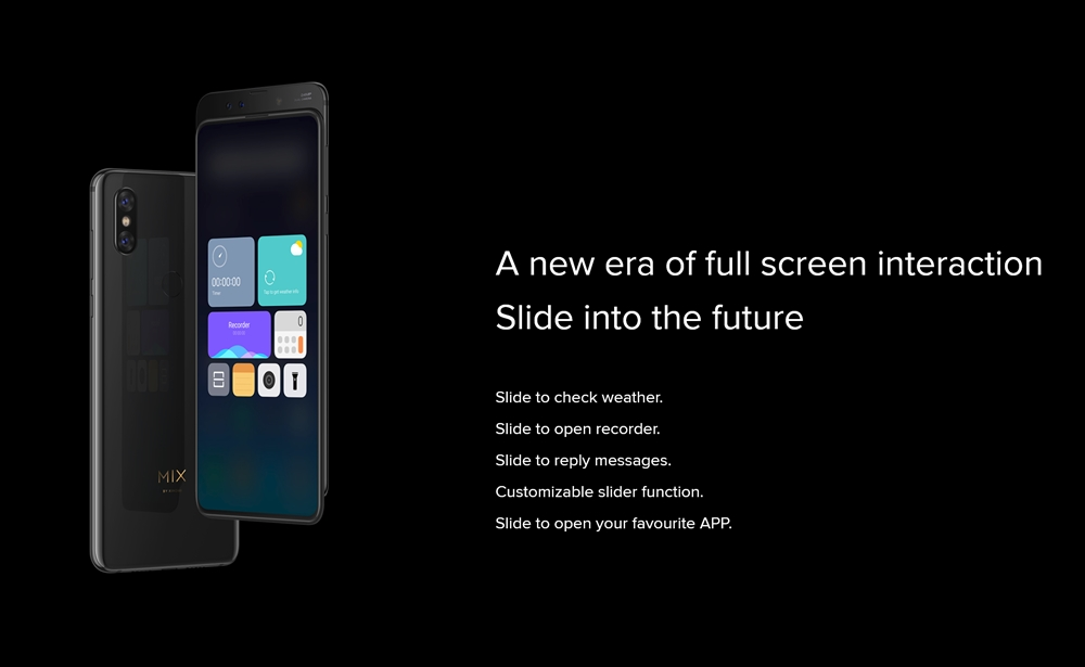 Xiaomi Mi MIX 3はスライドすることで発動する機能も搭載。
