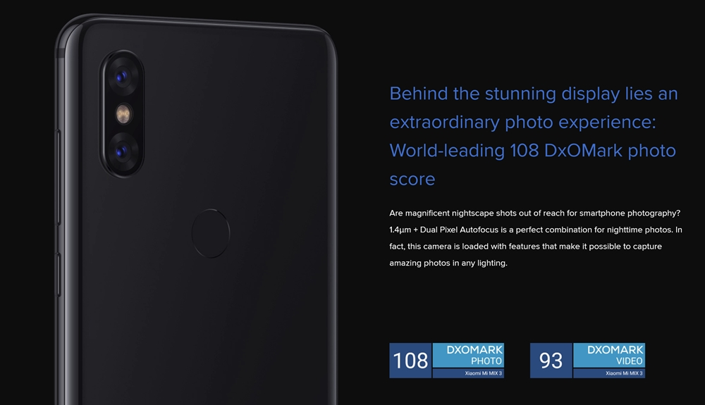 Xiaomi Mi MIX 3はDXOMARKで非常に高い評価を得たカメラを搭載しています。