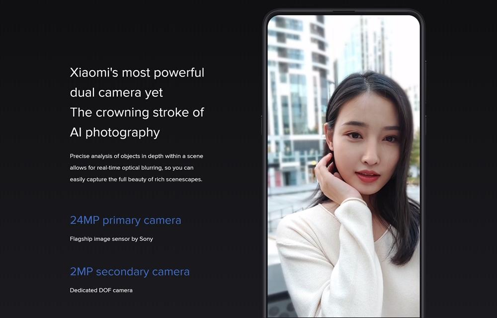 Xiaomi Mi MIX 3のインカメラはAIに対応。ボケ味用のサブカメラを備えるデュアルカメラ仕様となっています。