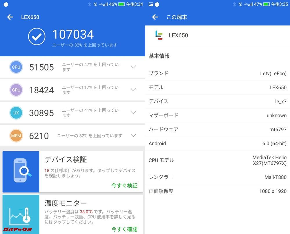LeEco Le Pro 3 AI Edition(Android 6.1)実機AnTuTuベンチマークスコアは総合が107034点、3D性能が18424点。