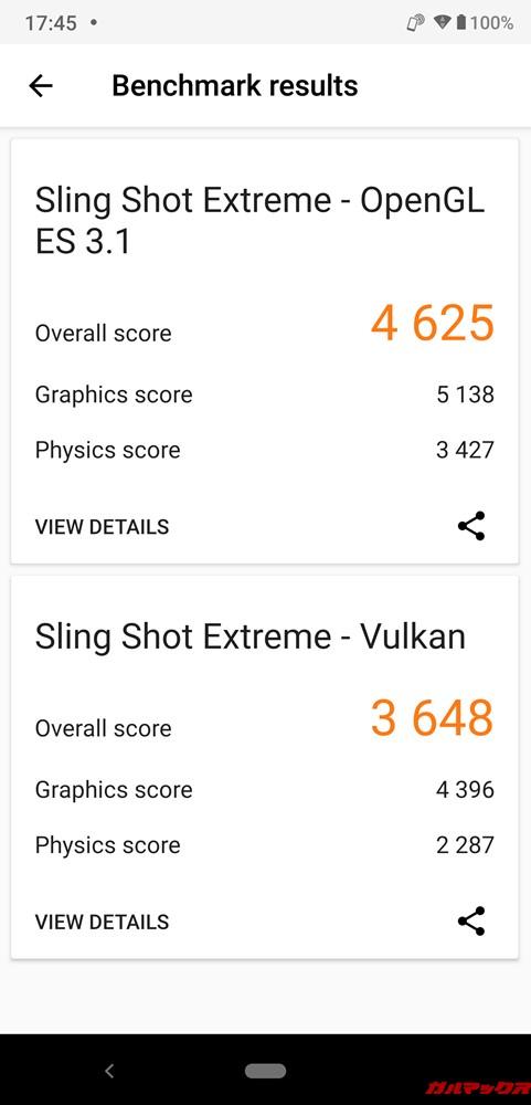 AQUOS zeroの実機P3DMarkのスコアはOpenGL ES3.1が4625点、Vulkanが3648点でした!
