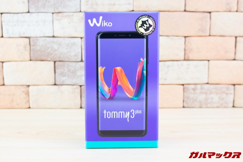 Wiko Tommy3 Plusの外箱はパープルカラー。