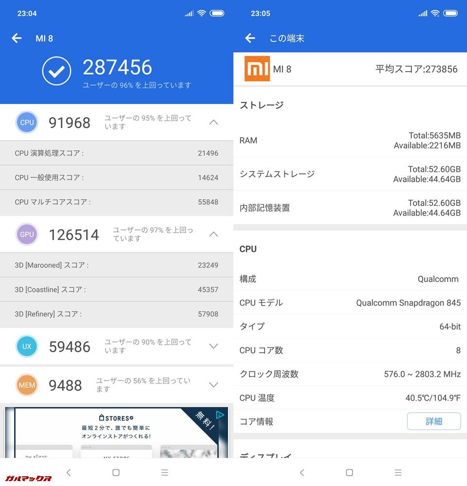 Xiaomi Mi 8/RAM6GB(Android 8.1)実機AnTuTuベンチマークスコアは総合が287456点、3D性能が126514点。