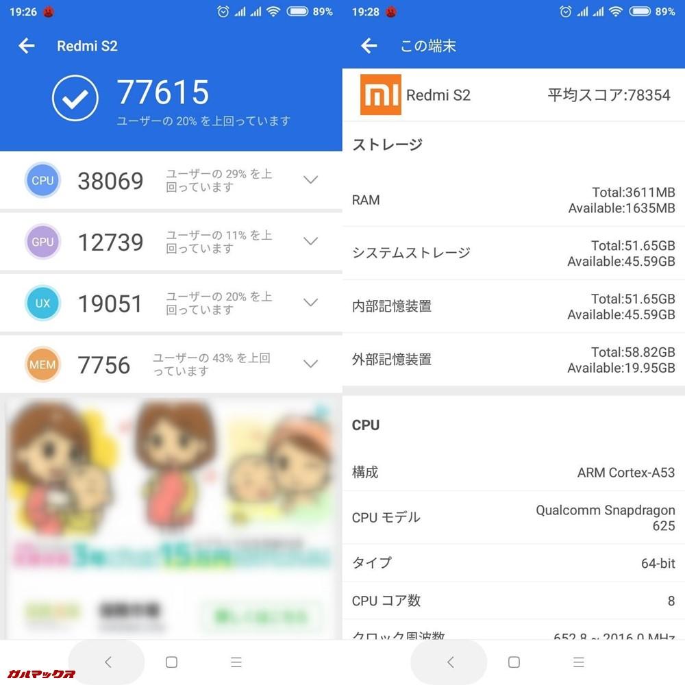 Xiaomi Redmi S2/RAM4GB(Android 8.1)実機AnTuTuベンチマークスコアは総合が77615点、3D性能が12739点。