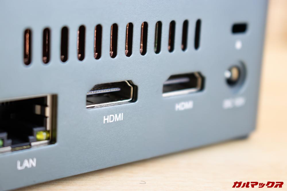 Beelink J45はHDMI端子が2つ備わっているのデュアルディスプレイ環境を簡単に構築可能です。