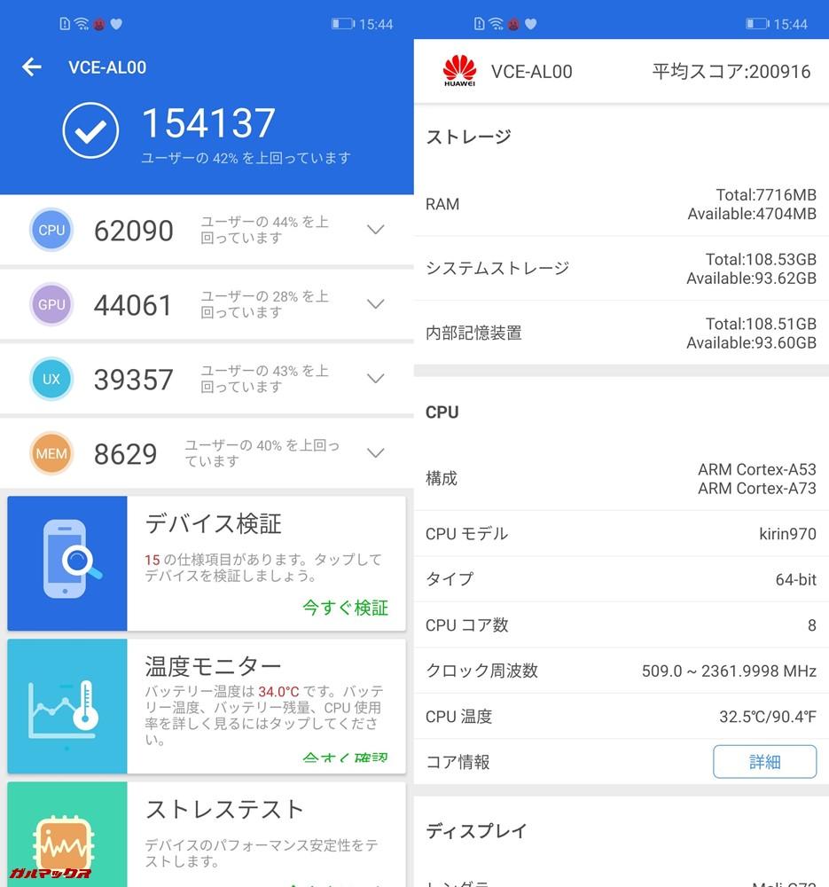 Huawei nova 4実機AnTuTuベンチマークスコアは総合が154137点、3D性能が44061点。