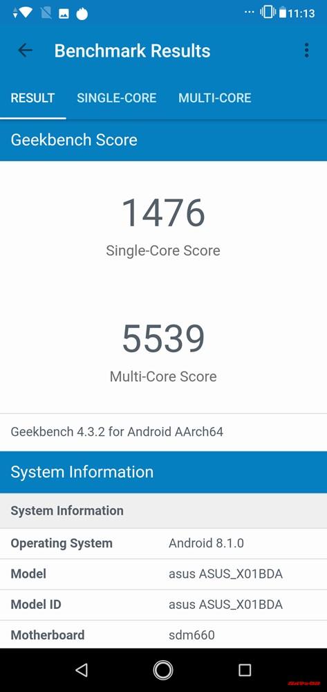 ZenFone Max Pro (M2)のGeekbench 4ではシングルコア性能が1478点、マルチコア性能が5539点。