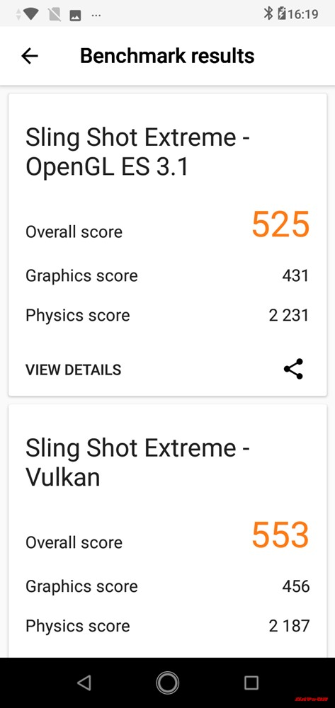 ZenFone Max (M2)の3DMarkスコアはOpenGL ES 3.1が525点、Vulkanが553点でした。