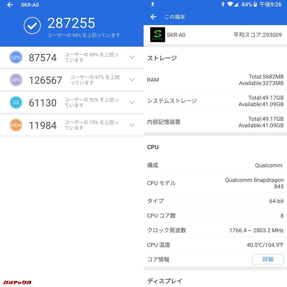 Xiaomi Black Shark(Android 8.1)実機AnTuTuベンチマークスコアは総合が287255点、3D性能が126567点。