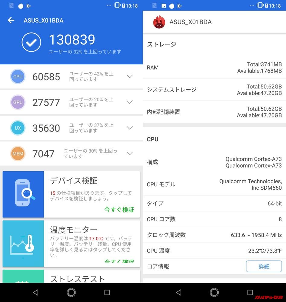 ZenFone Max Pro (M2)(Android 9)実機AnTuTuベンチマークスコアは総合が130839点、3D性能が27577点。