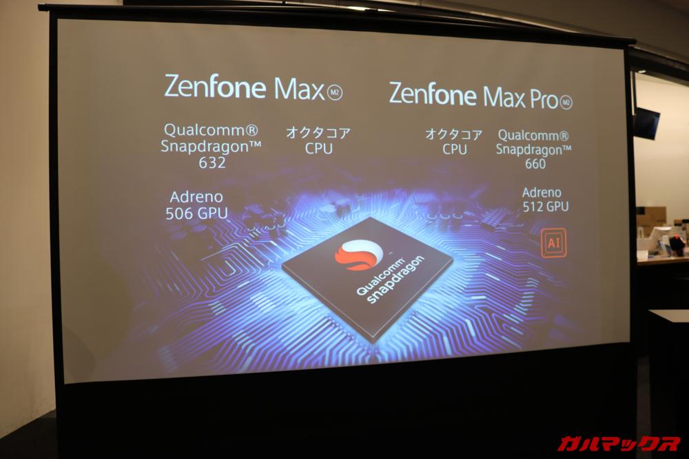 ZenFone Max M2シリーズは標準モデルも上位モデルもSnapdragon 600シリーズのミドルレンジ帯の性能パーツを使用している。