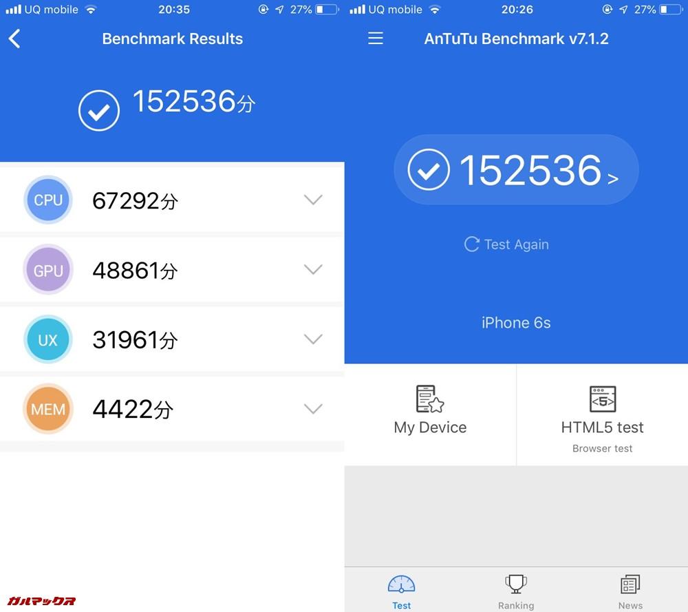 iPhone 6s(iOS 12)実機AnTuTuベンチマークスコアは総合が152536点、3D性能が48861点。