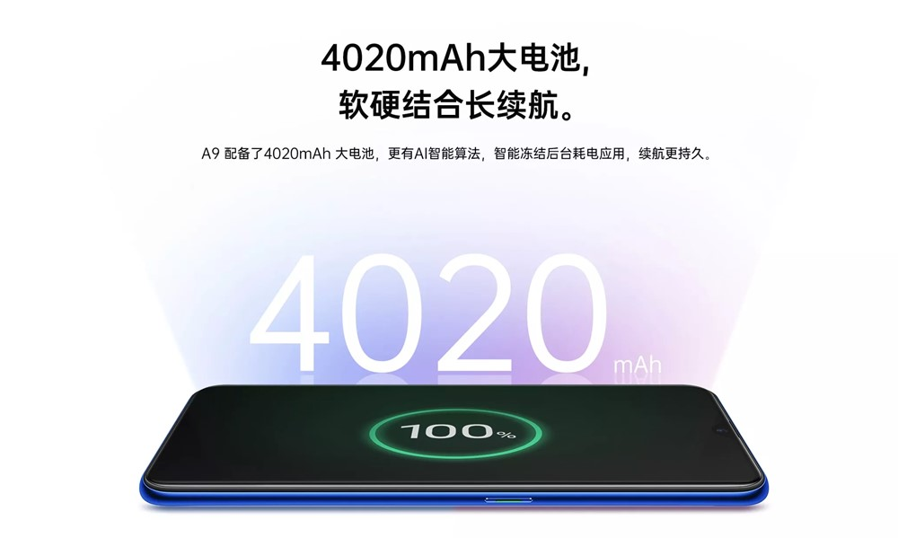 Oppo A9は4000mAhを超える大容量バッテリーを搭載。
