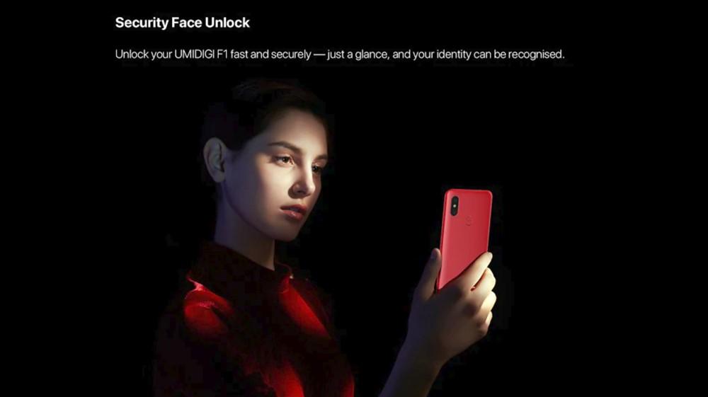 UMIDIGI F1 Playは顔認証にも対応しています。