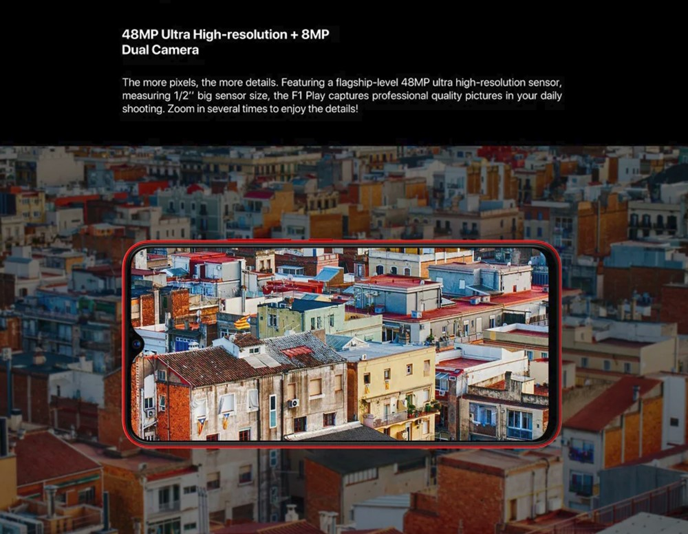 UMIDIGI F1 Playは高画素な4800mAhカメラを搭載しているので、写真をカットしてから拡大して精細さを保つ事が可能です。