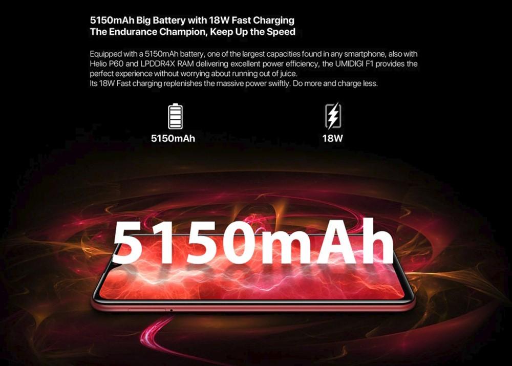 UMIDIGI F1 Playは超大容量なバッテリーを搭載しているので長時間駆動が飛躍的に伸びます。