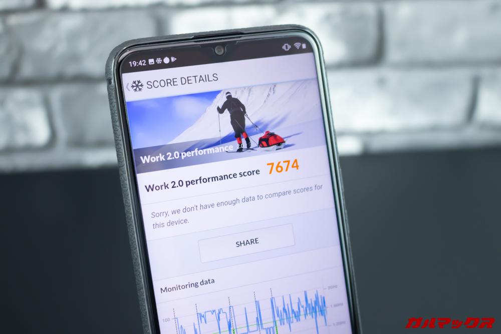 UMIDIGI S3 ProのPCMark for Androidのスコアは7674点でした。