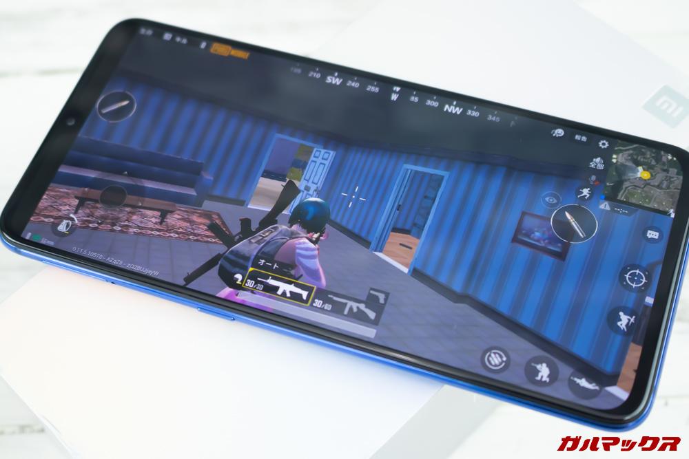 Xiaomi Mi 9でPUBGmobileをプレイしている様子。