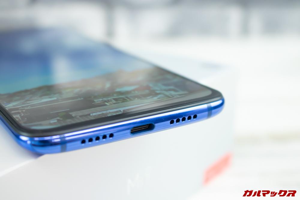 Xiaomi Mi 9のスピーカーは本体下部のみです。
