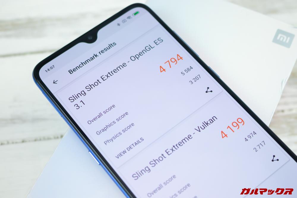 Xiaomi Mi 9の3DMark実機スコアはOpenGL ES 3.1が4794点、Vulkanが4199点!
