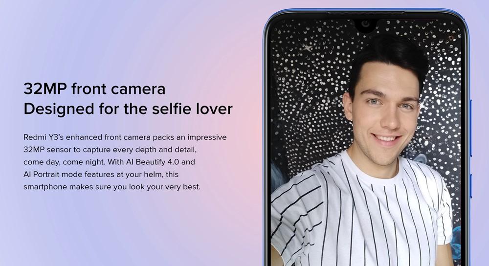 Xiaomi Redmi Y3のインカメラは3200万画素