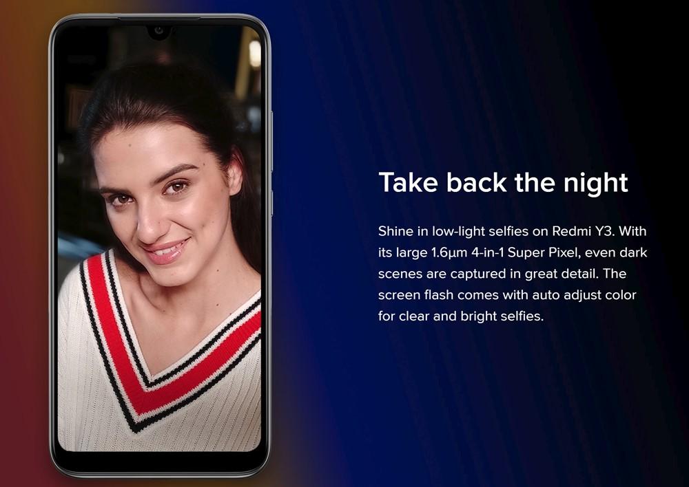 Xiaomi Redmi Y3のインカメラは暗所に強い