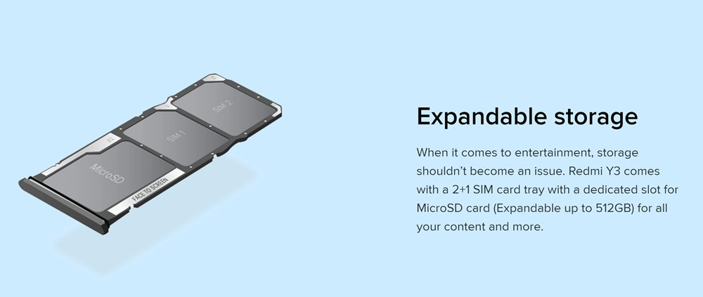 Xiaomi Redmi Y3はトリプルスロット対応