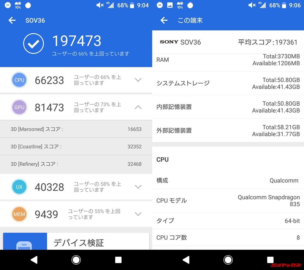 Xperia XZ1(Android 8.0)実機AnTuTuベンチマークスコアは総合が197473点、3D性能が81473点。