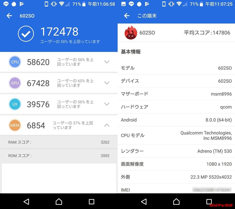 SONY Xperia XZs(Android 8.0)実機AnTuTuベンチマークスコアは総合が172478点、3D性能が67428点。