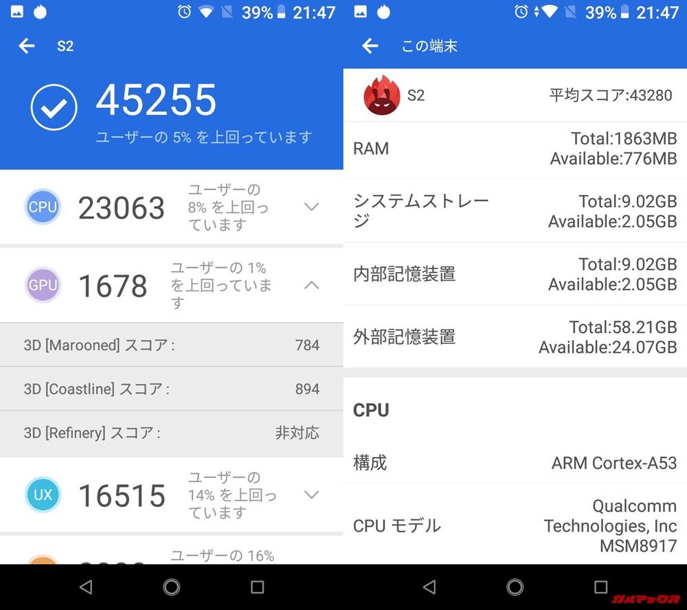 Android One S2(Android 8.1)実機AnTuTuベンチマークスコアは総合が45255点、3D性能が1678点。