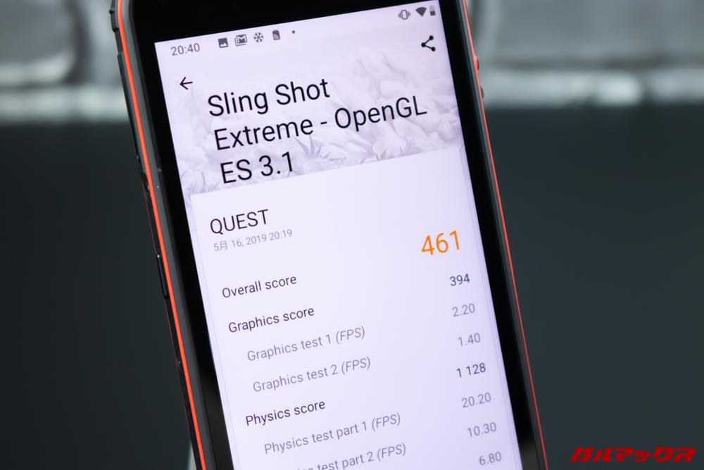 CUBOT Questの3DMarkスコアは461点