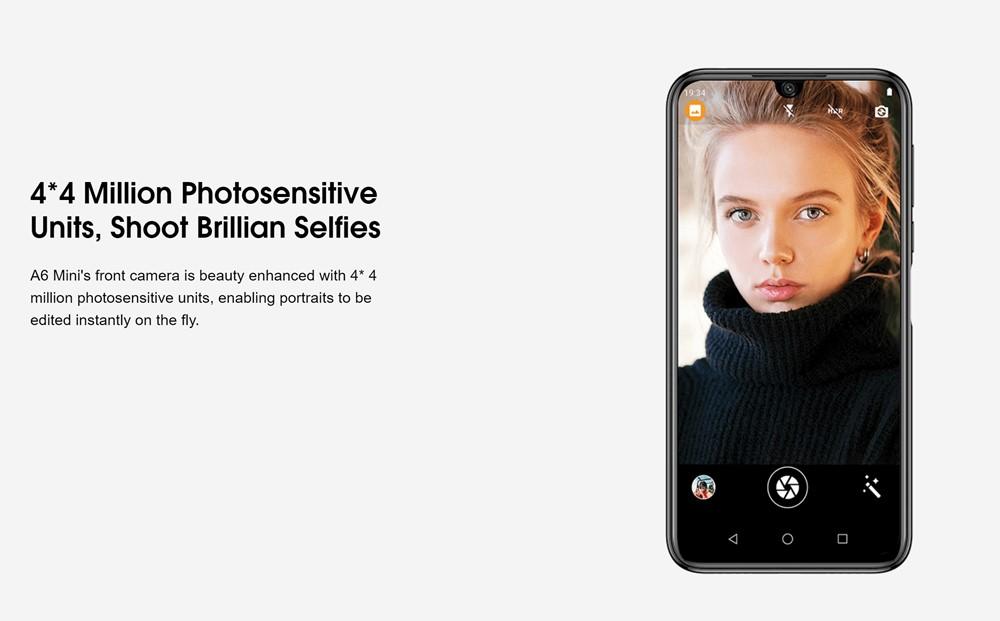 Elephone A6 miniは明るく撮影出来るインカメラを搭載。