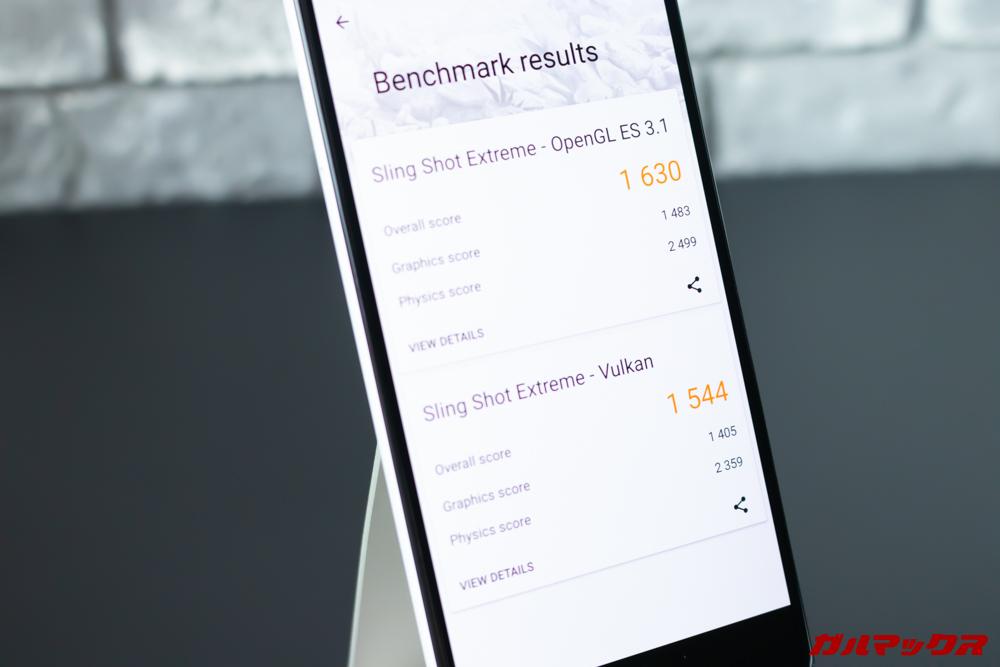 Google Pixel 3a XLのスコアはOpen GL ES 3.1が1630点、Vulkanが1554点。