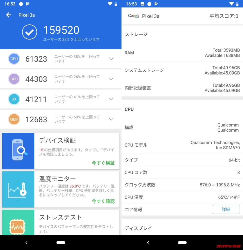 Google Pixel 3a(Android 9)実機AnTuTuベンチマークスコアは総合が159520点、3D性能が44303点。
