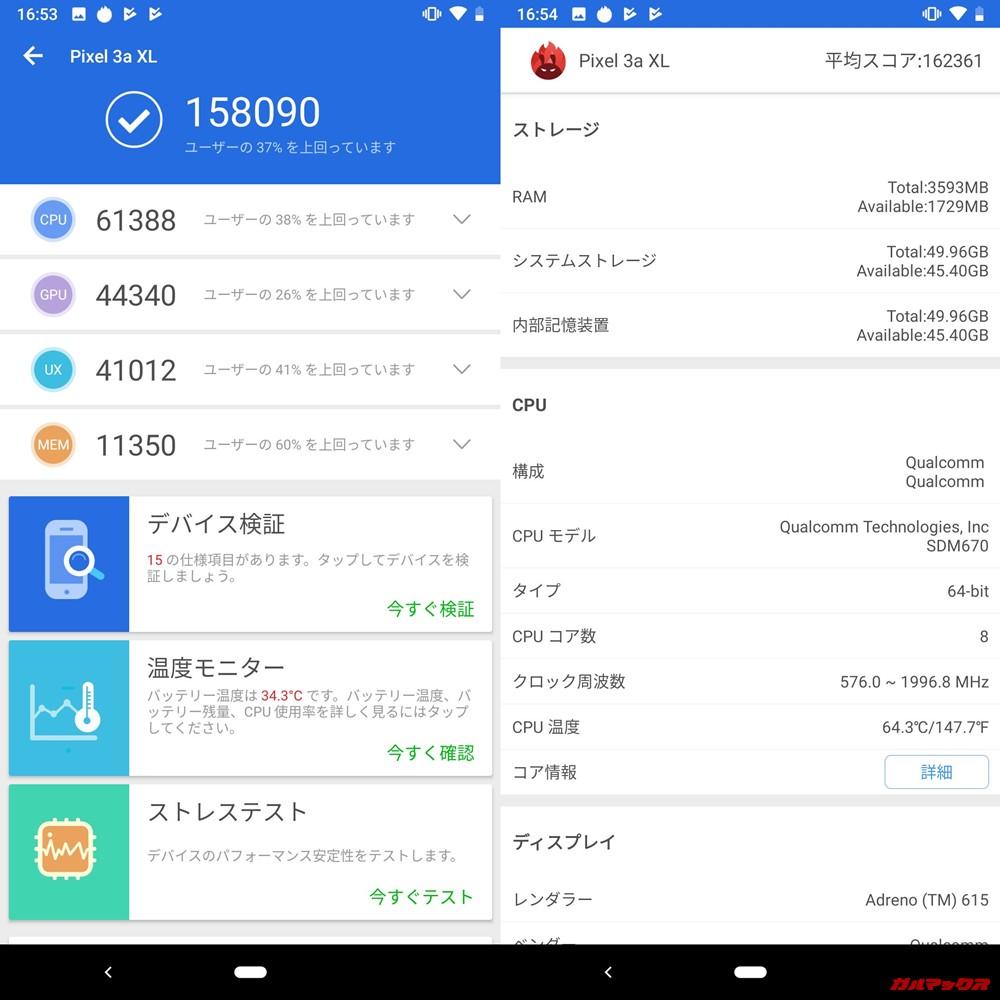 Google Pixel 3a XL(Android 9)実機AnTuTuベンチマークスコアは総合が158090点、3D性能が44340点。