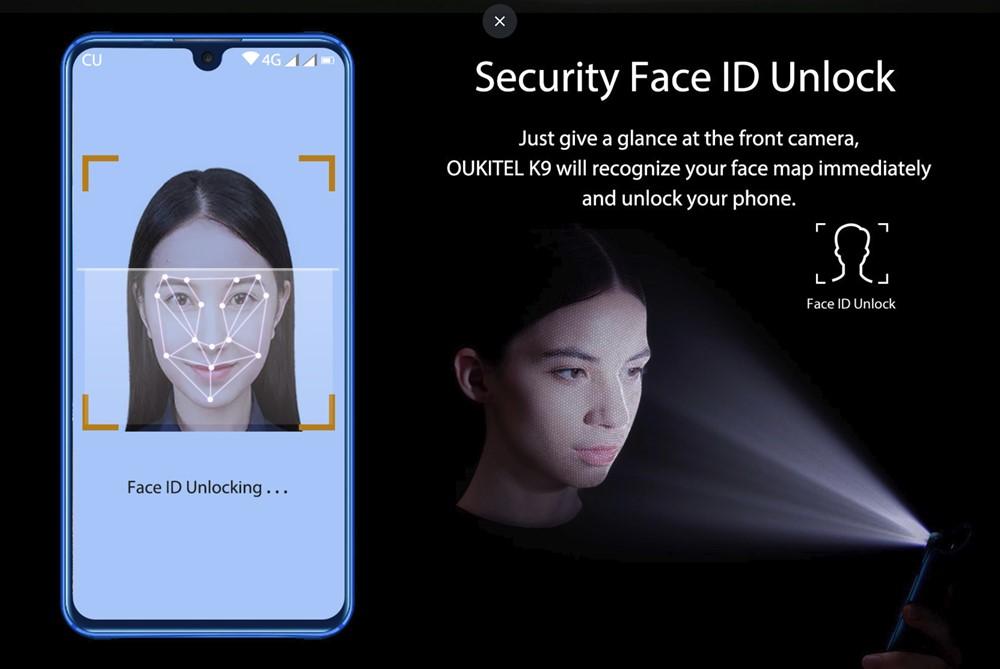 OUKITEL K9は指紋認証以外に顔認証にも対応