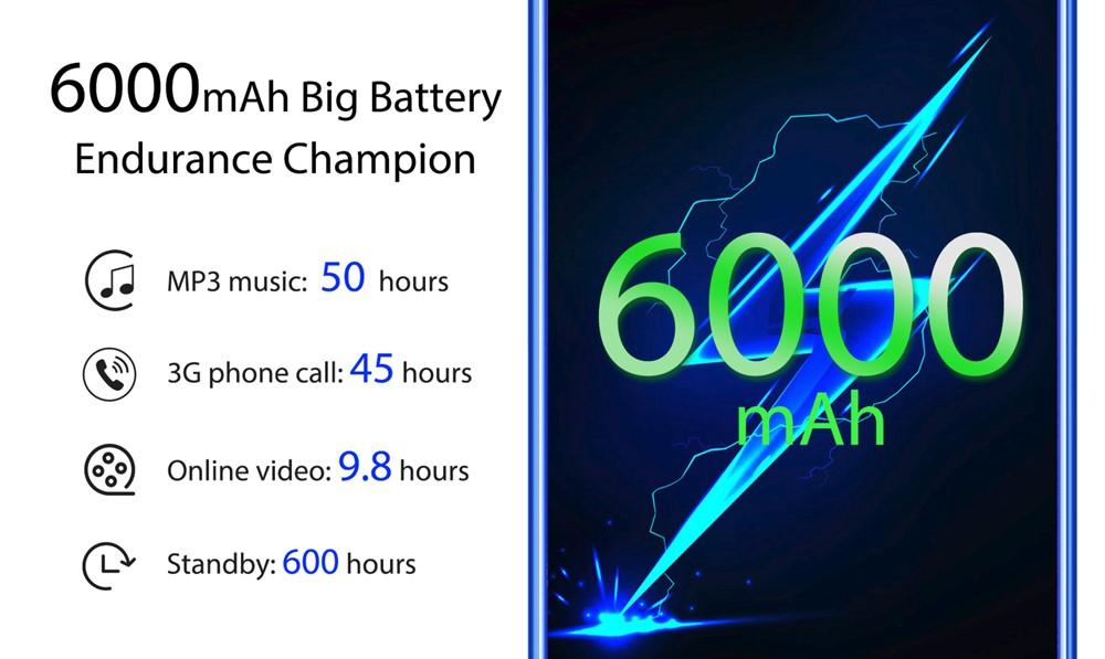 OUKITEL K9は6000mAhの超大容量バッテリーを搭載