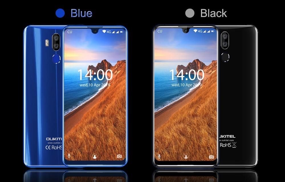 OUKITEL K9の背面は光沢タイプでブラックとブルーから選べます!