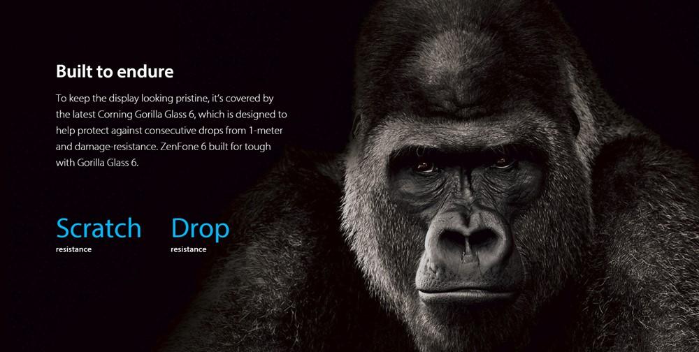ZenFone 6のディスプレイガラスはGorillaGlass 6を採用しています。