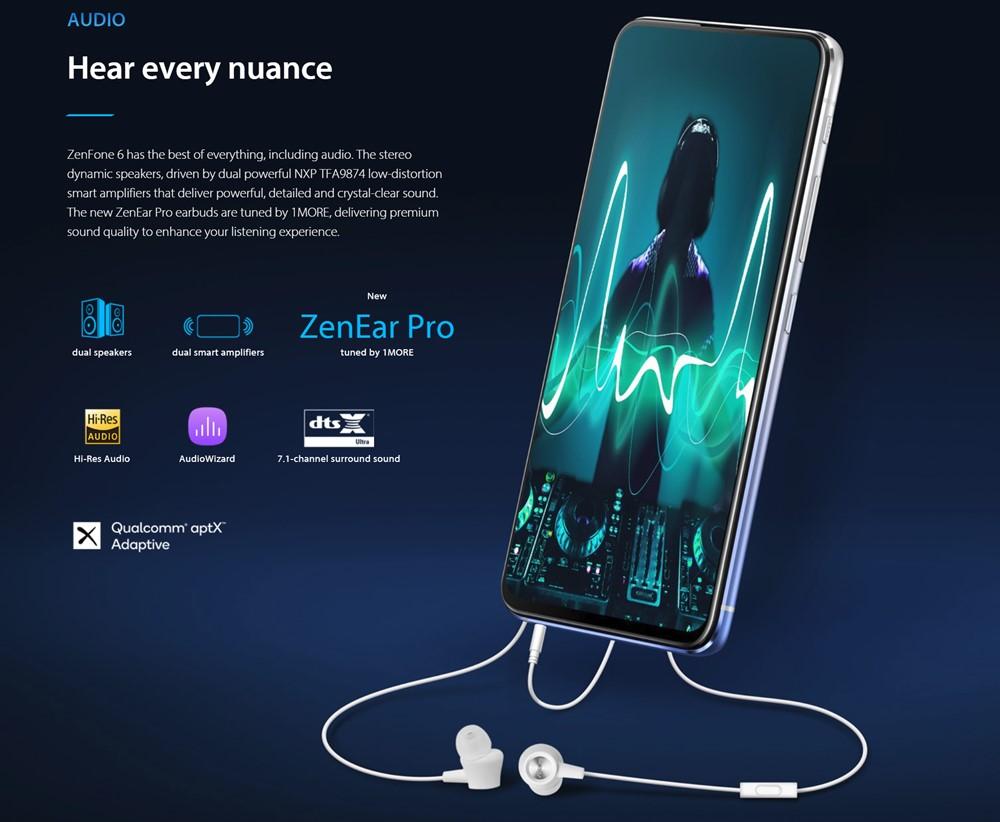 ZenFone 6はデュアルスピーカーやイヤホンジャック、ハイレゾなどサウンド関連の仕様も充実