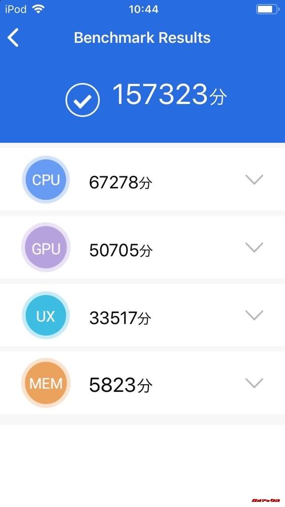 iPod touch(第7世代)(iOS 12.3)実機AnTuTuベンチマークスコアは総合が157323点、GPU性能が50705点。