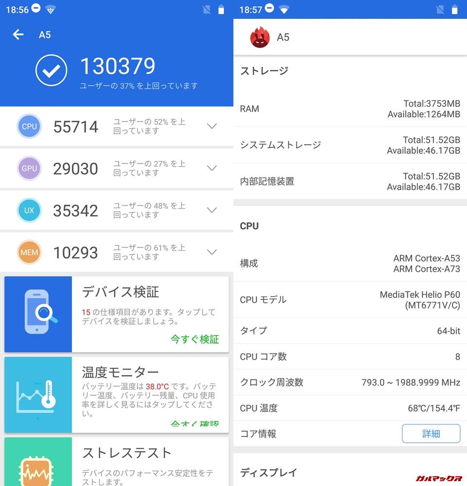 Elephone A5実機AnTuTuベンチマークスコアは総合が130379点、3D性能が29030点。