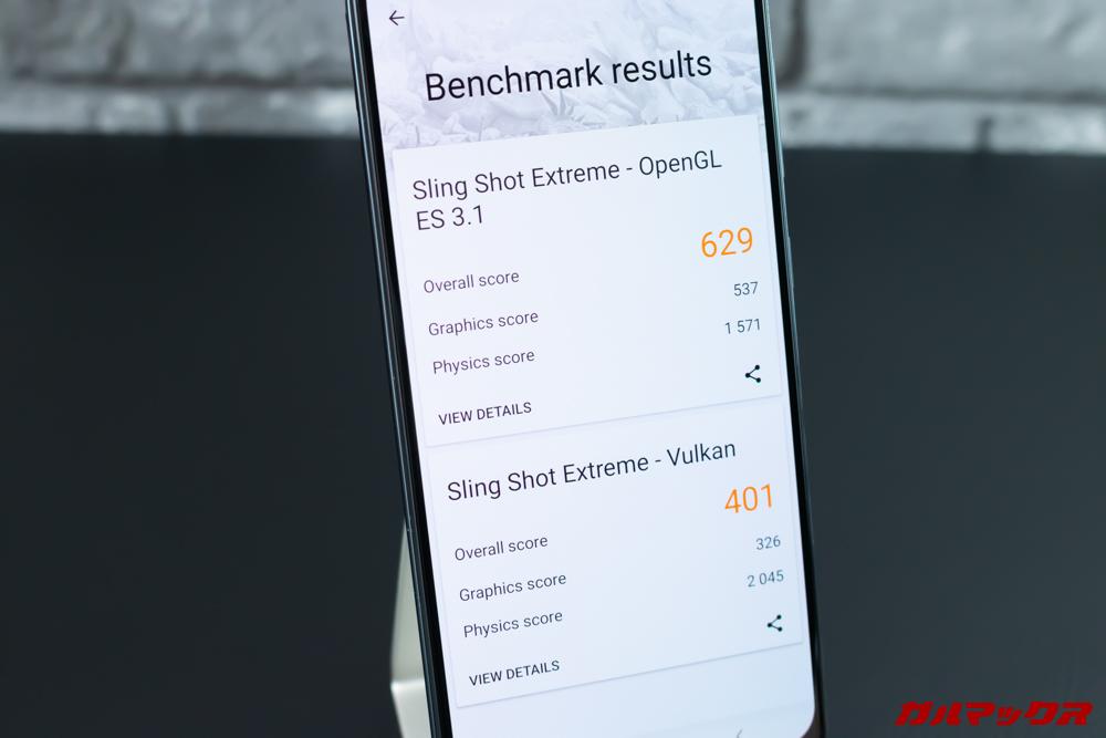 Open GL ES 3.1が629点、Vulkanが401点。