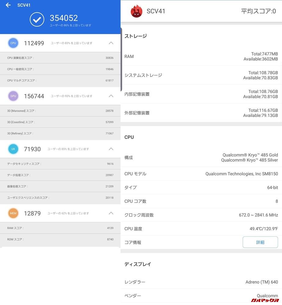 Galaxy S10(Android 9)実機AnTuTuベンチマークスコアは総合が354052点、3D性能が156744点。