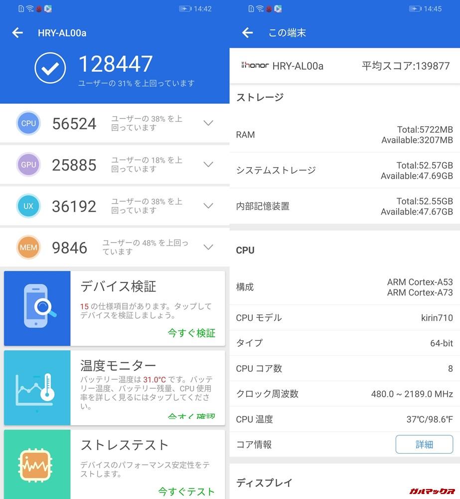 Huawei Honor 10 Lite(Android 9)実機AnTuTuベンチマークスコアは総合が128447点、3D性能が25885点。