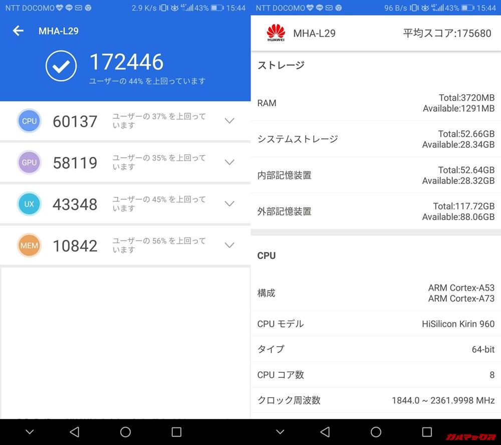 HUAWEI Mate 9(Android 8.0.0)実機AnTuTuベンチマークスコアは総合が172446点、3D性能が58119点。